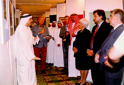 Bahaadeen explains his work to the guests.